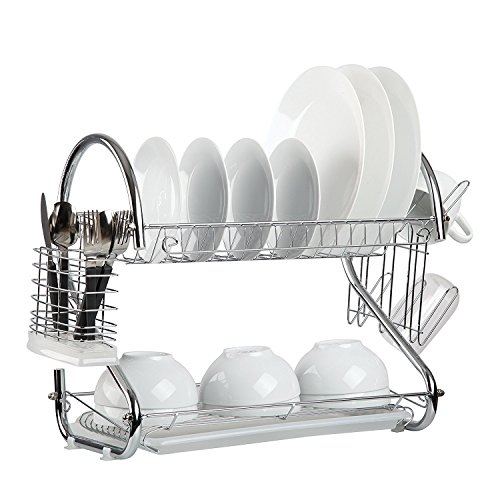 (Dish Drying Rack, 2-Tier Dish Rack with Cup Plate Holder and Drainboard, Kitchen Supplies Dish Drainer Rack for Quick Drying Utensil and Plate)