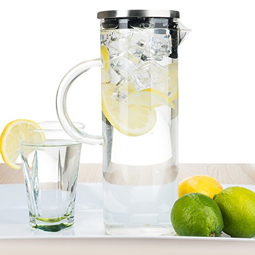 bobuCuisine's Elegant Chill Water Pitcher - Stunning Scandinavian Design - Premier Quality Borosilicate Glass Pitcher - Stainless Steel Lid - 1300ml/44oz (Small Martini Pitcher compare prices)