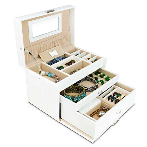VENKON - Universal Schmuckbox mit Spiegel & Schubladen für Schmuck & Kosmetik Aufbewahrung & Präsentation - Kunstleder Weiß - 24 x 15 x 16 cm