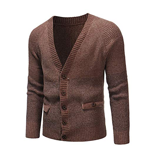 - Byyong Men's Long Sleeve Button Autumn Winter Casual Sweatshirt Top Blouse Jersey Knit (L, Coffee)