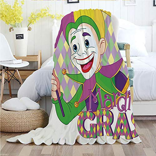 Mardi Gras,Throw Blankets,Flannel Plush Velvety Super Soft Cozy Warm with/Cartoon Design of Mardi Gras Jester Smiling and Holding a Mask Harlequin Figure Decorative/Printed Pattern(70