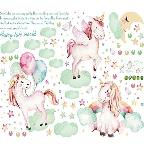 TNGCHI Unicorn Wall Stickers Home Decorative Wall Decal Removable Wall Sticker for Kid Girl Children Room 2Sets
