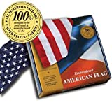 Cheap Embroidered Cotton American Flag 3'x5′ ft100% Made in the U.S.A
