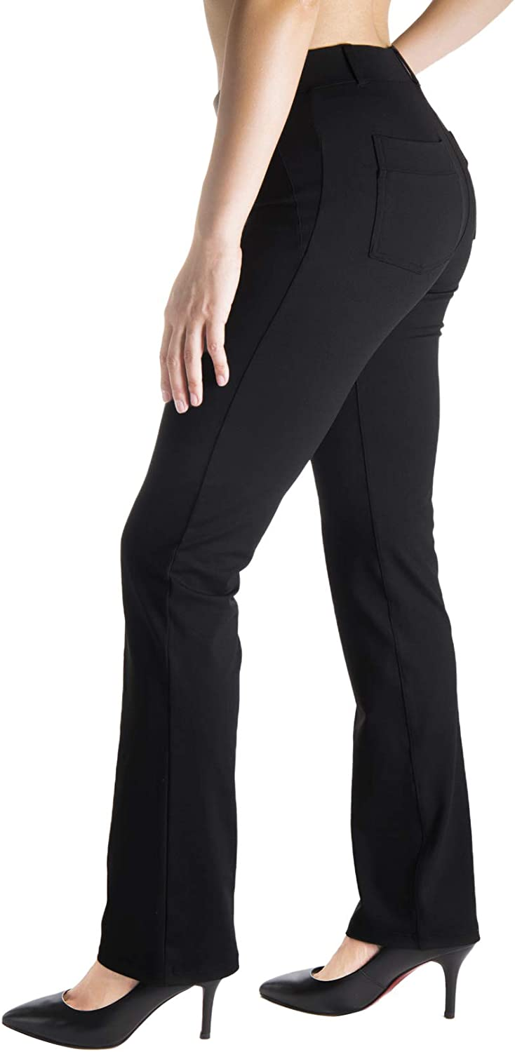 Yogipace,Belt Loops,Women's Petite/Regular/Tall Straight Leg Yoga Dress Pants