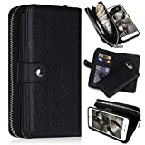 iPhone 7 Plus/iPhone 8 Plus Wallet Cases, [Large Capacity][Magnetic Detachable] CASEOWL 2 In 1 Zipper Pocket Leather Wallet Case with Wrist Strap, Stand, Cards Holder for iPhone 7 Plus/8 Plus-Black