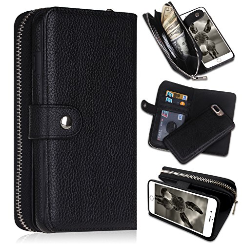 (iPhone 7 Plus/iPhone 8 Plus Wallet Cases, [Large Capacity][Magnetic Detachable] CASEOWL 2 in 1 Zipper Pocket Leather Wallet Case with Wrist Strap, Stand, Cards Holder for iPhone 7 Plus/8 Plus-Black)