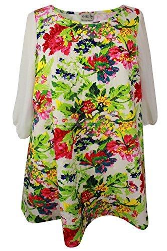 New Ladies manches en mousseline de soie Motif Fleurs Crème Vert Taille :  robe tunique