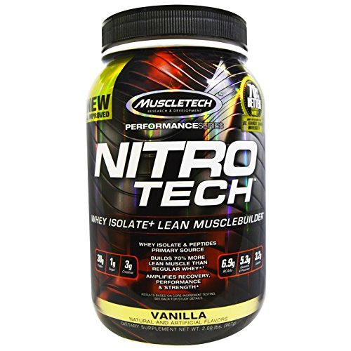 Muscletech, Nitro Tech, Whey Isolate+ Lean MuscleBuilder, Vanilla, 2.00 lbs (907 g) - 2pc