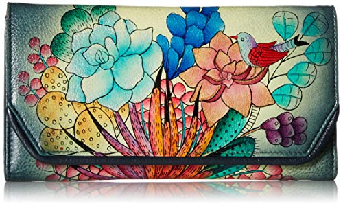 Anna by Anuschka Women's Leather Hand Painted Checkbook Wallet/Clutch | Succulent Dreams, One ()