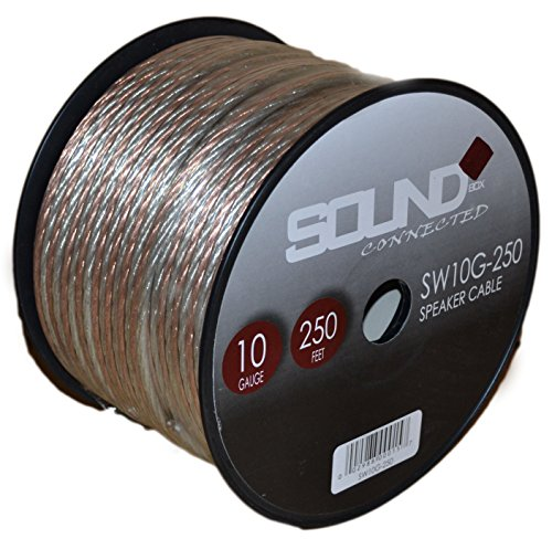 SoundBox Connected 10 Gauge 250′ Speaker Wire 10 Ga Clear Home/ Car 250 Ft. Speaker Cable Spool