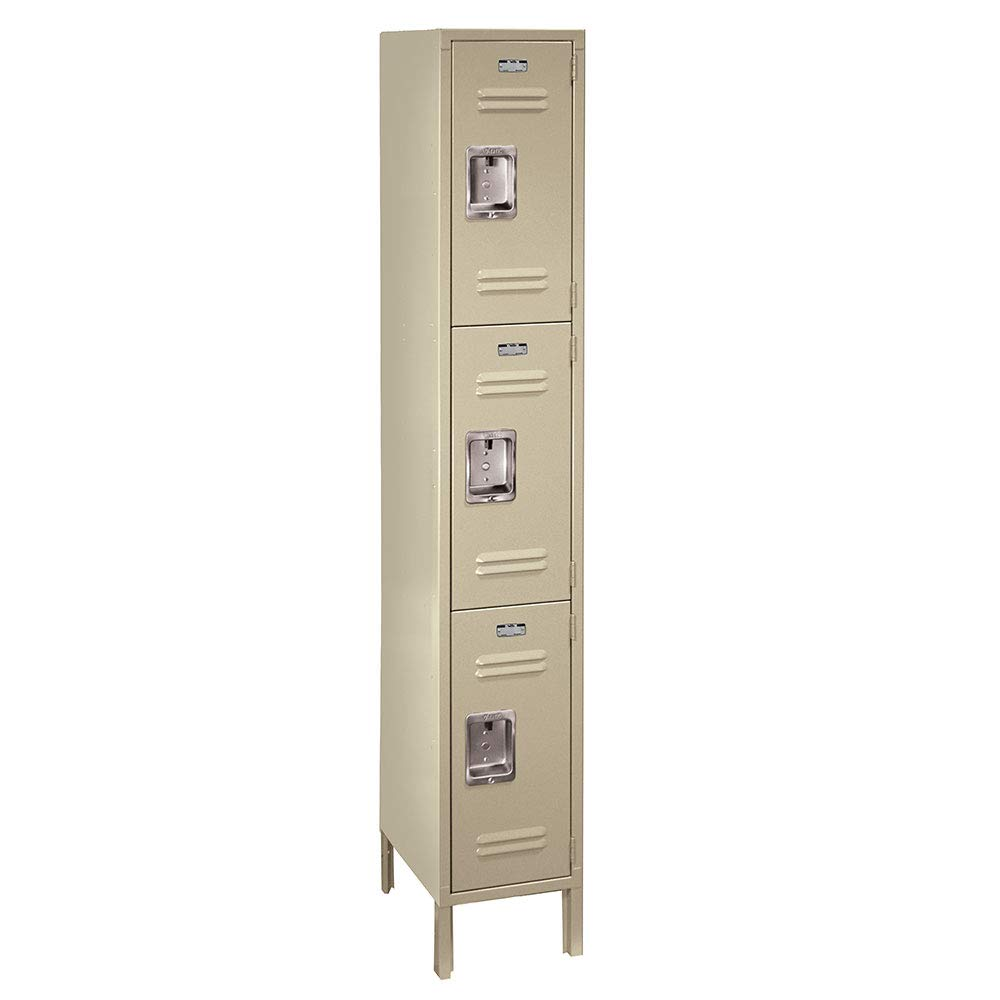 ValTec Metal Locker by Lyon Assembled PPVT53051SU Triple Tier 12-Inch Wide, 15-Inch Deep, 6-Feet High, Putty