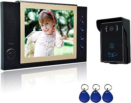 Sistema del Interfono Nudito Kit Videoportero para 2 Viviendas 2 Monitores TFT LCD a Color de 7, 1 C/ámara Infrarroja Exterior e Impermeable con Visi/ón Nocturna. Desbloqueo con Tarjetas RFID
