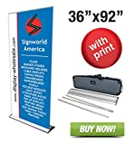 Signworld 36'' HD Retractable Roll Up Banner Stand Trade Show Display with Vinyl Print Included 36'' X 92''