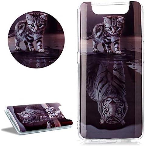 DasKAn Weich Silikon Hülle für Samsung Galaxy A80 mit Süße Tiere Katze und Tiger Muster, Ultra Dünn Gummi Rückseite Handy Tasche Stoßfest Kratzfest Flexibel Gel TPU Schutzhülle,#2