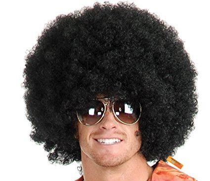 #1 Short Fluffy Afro Wigs Heat Resistant Synthetic Unisex Men Women Cosplay Anime Fancy Funny Wigs for Party - (Short Funny Halloween Jokes For Adults)