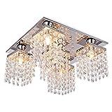 Lightess Crystal Chandelier 5 Lights Modern Flush Mount Ceiling Light Fixture