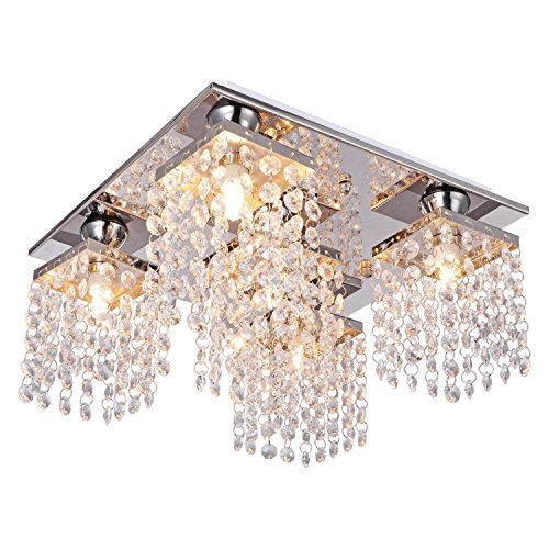 (Lightess Crystal Chandelier 5 Lights Modern Flush Mount Ceiling Light Fixture)