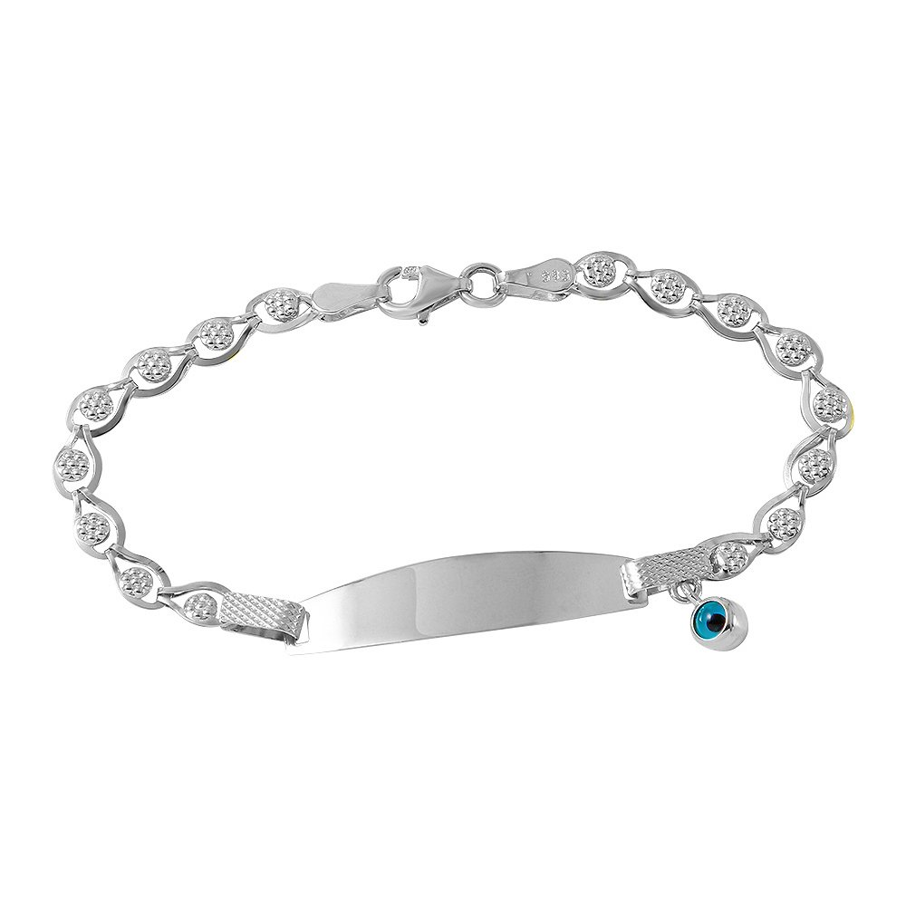 Fine 14k White Gold Baby ID Bracelet with Evil Eye 5.5''