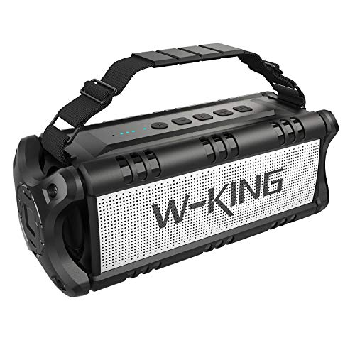 - W-KING Wireless Bluetooth Speakers & 8000mAh Battery Power Bank - 50W Outdoor Portable Waterproof Speaker With Powerful Bass For iPhone, Tablet & Laptop - Loud Clear Stereo Sound - 100ft Range - Black