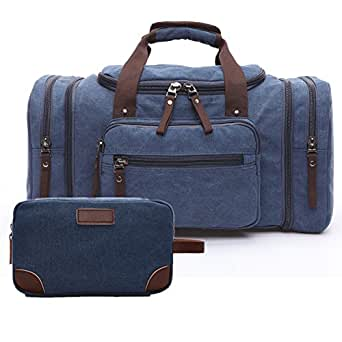 Toupons Men's Travel Duffle Bag 20.8'' Canvas Weekender Bag Overnight Bag + Toiletry Bag Combination (Blue CO)