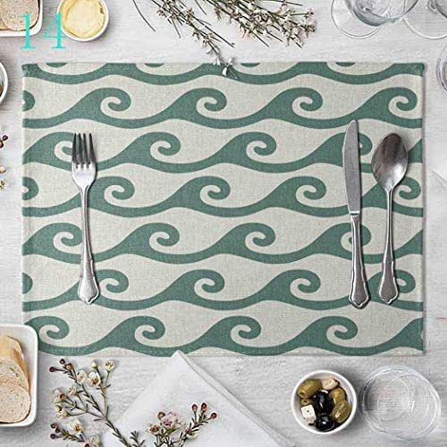 DEBRICKS Table Mats Placemats Set of 2, Washable PVC Dining Place Mats Heat Resistant Kitchen Mats Mint Green Dish Cup Bowl Pads Home Coaster