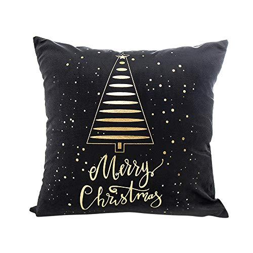 Sunhusing Christmas Elk Print Gold Foil Bronzing Cushion Cover Pillowcase -