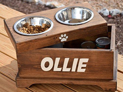 Elevated Dog Feeder And Storage Box   Elevated Dog Bowl   Rustic Dog Bowl  Stand   Raised Dog Bowl   Raised Dog Feeder   Pet Bowl Stand   Cool Kitchen  Gifts
