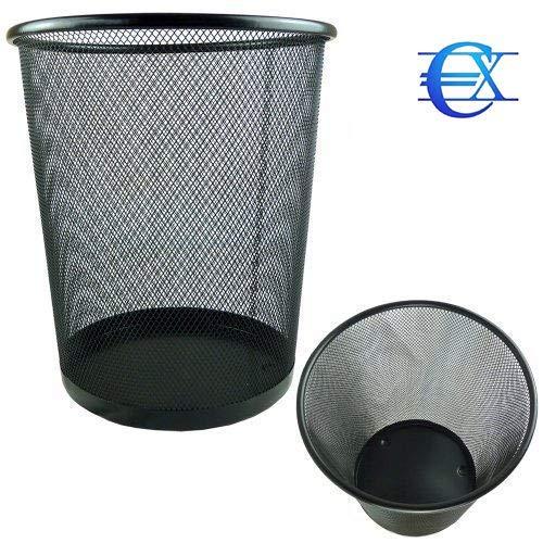 Papelera Circular de Rejilla met/álica EUROXANTY/® Papelera de Oficina 28 x 26 cm 12 L Papelera Negra