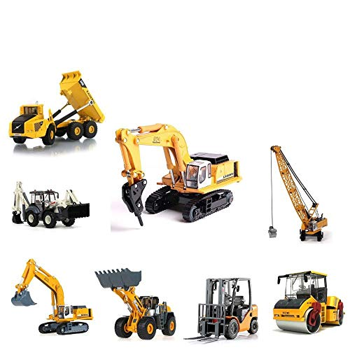 TBFEI 1:50 Scale Diecast Tow Truck Wrecker Road Models Model Construction VehiclesBulldozers, Excavators, Trucks, Road Rollers, Forklifts, Two-Way Rope Chippers ( Color : Suits (8 Types) )