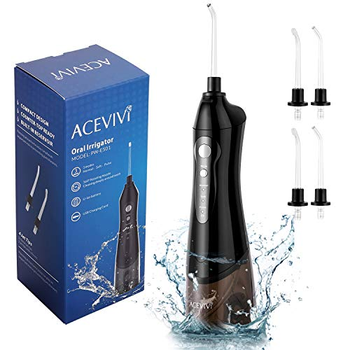 ACEVIVI Water flosser Oral Irrigator for Teeth with 4 Jet tips Cordless Rechargeable Portable Power Dental Flosser 180ml, Black