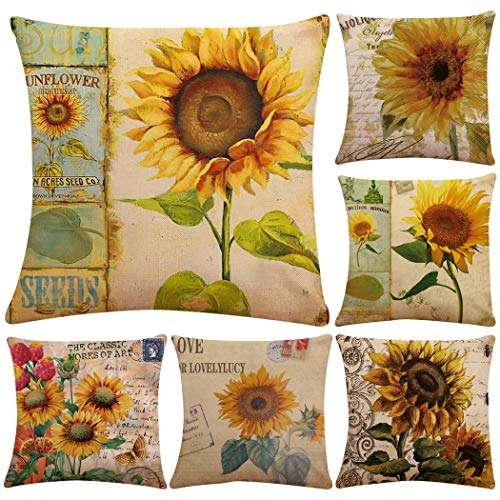 Polyester Throw Pillow Case Cushion Cover Home Sofa Decorative 18 X 18 Inch/45X45cm(Cover Only,No Insert) (6 Pack Sunflower) (Pillow Cases Sunflower)