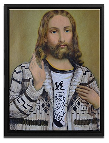 - David Irvine Signed Authentic Official Pop Holy dudeness Modern Man Jesus Framed Canvas Wall Art at 16in by 20in SFCNVDRV010