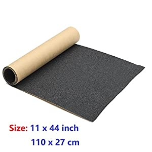 "11"" x 44"" Skateboard Grip Tape Sheet, ZUEXT Bubble Free Waterproof Scooter Grip Longboard Griptape(110x27cm,Black)"
