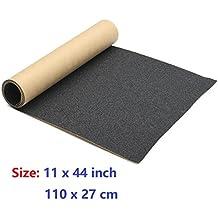 """11"""" x 44"""" Skateboard Grip Tape Sheet, ZUEXT Bubble Free Waterproof Scooter Grip Longboard Griptape(110x27cm,Black)"""