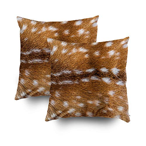 TOMWISH 2 Packs Hidden Zippered Pillowcase Spotted Deer Fur Texture 20X20Inch,Decorative Throw Custom Cotton Pillow Case Cushion Cover for Home
