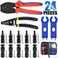 Glarks MC3 MC4 Crimper Solar Crimping Tools for 2.5/4/6mm² Solar Panel PV Cable with 6 Pair MC4 Solar Panel Connector and 1 Pair Solar MC4 Connector Assembly Tool Spanner Wrench and a Wire Stripper