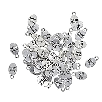 """Baoblaze 50 Piece Alloy Oval""""Hand Made"""" Pendant Charms Findings Gift Tags Label for DIY Hair Accessories Jewelry Making Crafts"""