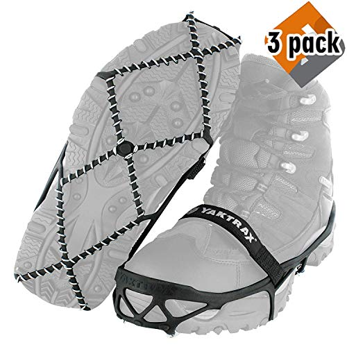 Yaktrax Pro Traction Cleats for Walking, Jogging, or Hiking on Snow and Ice (3 Pack (Small (Shoe Size: W 6.5-10/M 5-8.5)))