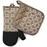 silicon pot holder set - Shaped Oven Mitts and Pot Holders Set of 2 for Kitchen Set With Cotton Neoprene Silicone Non-Slip Grip, Heat Resistant, Oven Gloves for BBQ Cooking Baking, Grilling, Machine Washable (Tan Neoprene)
