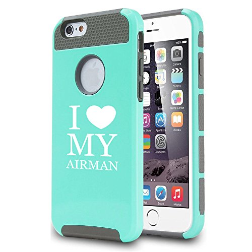 Airmans Heart (For Apple iPhone 6 6s Shockproof Impact Hard Case Cover I Love Heart My Airman Airforce (Teal))
