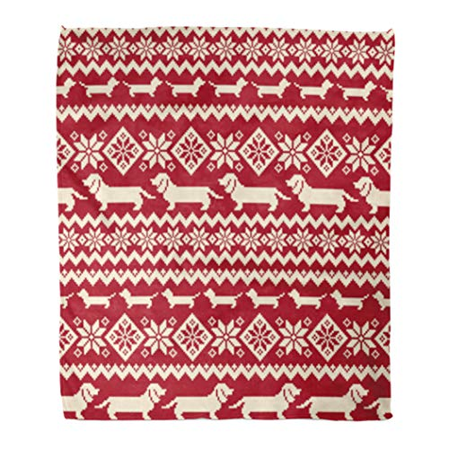 Golee Throw Blanket Animal Dog Nordic Pattern Consecutively Country Cross Stitch Dachshund Geometric 60x80 Inches Warm Fuzzy Soft Blanket for Bed Sofa