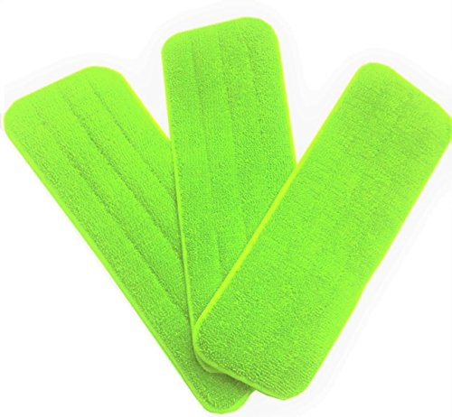 Washable Microfiber Mop Head (3 Pack) - Microfiber Replacement Mop Pads 16 x 5.5 Inches for Cleaning of Wet or Dry Floors - Professional Home/Office Cleaning Supplies, Green Color ()
