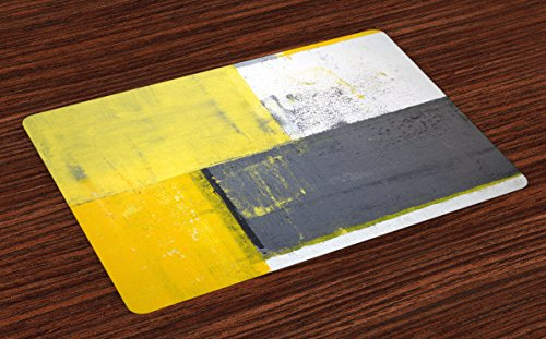 Ambesonne Grey and Yellow Place Mats Set of 4, Street Art Modern Grunge Abstract Design Squares, Washable Fabric Placemats for Dining Table, Standard Size, Charcoal Yellow