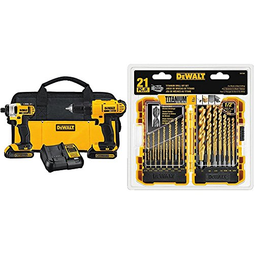 DEWALT DCK240C2 20v Lithium Drill Driver/Impact Combo Kit (1.3Ah) and Drill Bit set, 21-piece