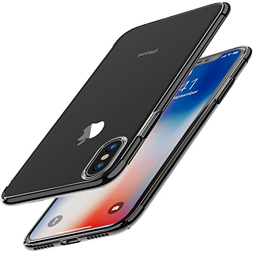 TOZO for iPhone X Case, Ultra Thin Hard Cover World's Thinnest Protect Bumper Slim Fit Shell for iPhone 10 / X [ transparent ] Lightweight [Black Plating Edge]