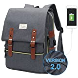 MODOKER Laptop College School Backpack, USB Charge Port Fits 15in Gray Deal