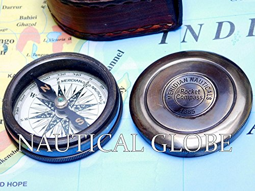 Meridian Nauticals KHUMYAYAD Antique Brass Poem Compass 2 Along with Leather case Maritime Nautical Vintage compss 5