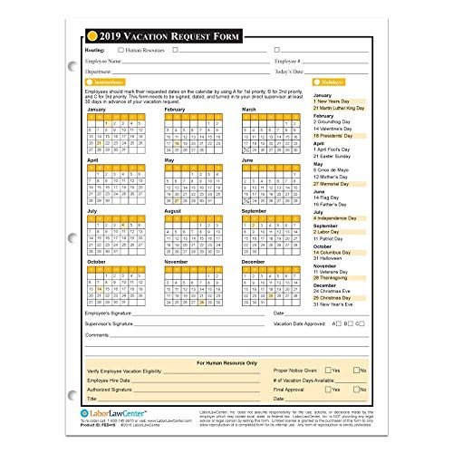 2019 Annual Vacation Request Form - 50 Sheets/Package - On Paper