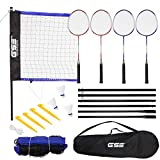GSE Games & Sports Expert Portable Recreational Badminton Set. Including Badminton Net, 4 Badminton Racquets & 3 Nylon Shuttlecocks