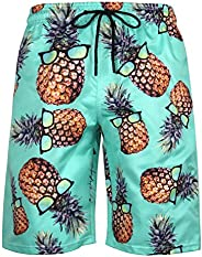 EmaoFun Mens Swim Shorts, Mens Boys Mesh Lining Quick Dry Pattern Bathing Beach Swim Trunks